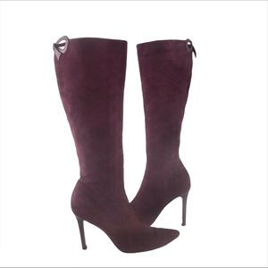 VALENTINO Burgundy Suede Bow Back Knee High Boots